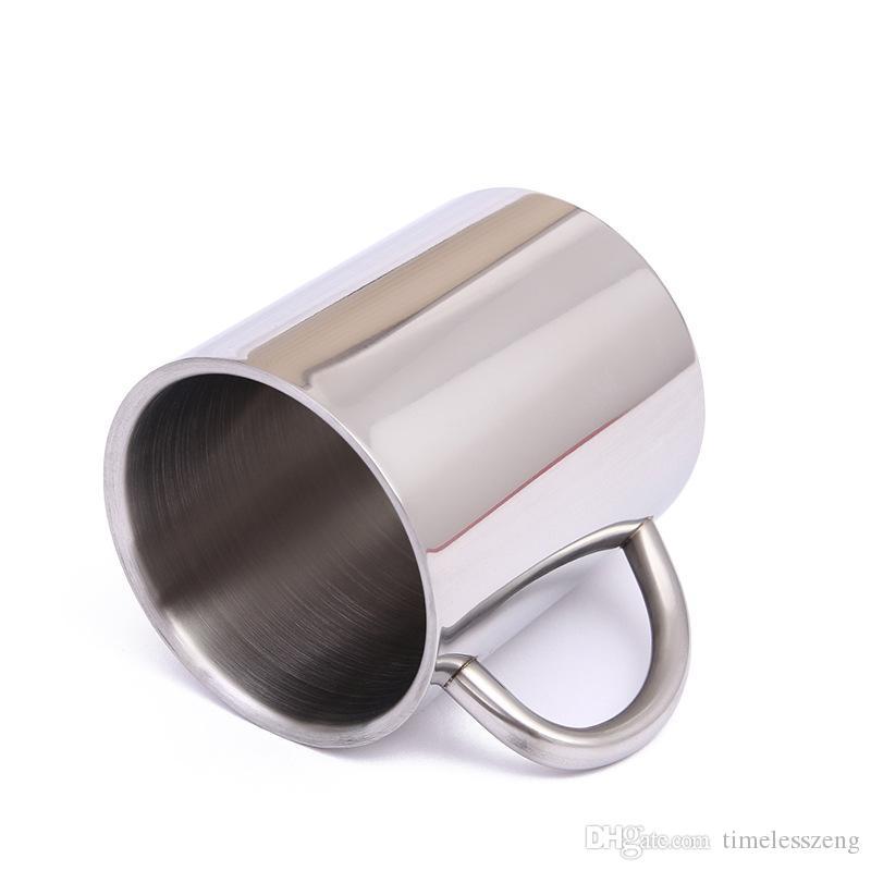 Nova 220 ml 300 ml 400 ml caneca de aço inoxidável copo portátil caneca de viagem de parede dupla caneca de café xícara de chá