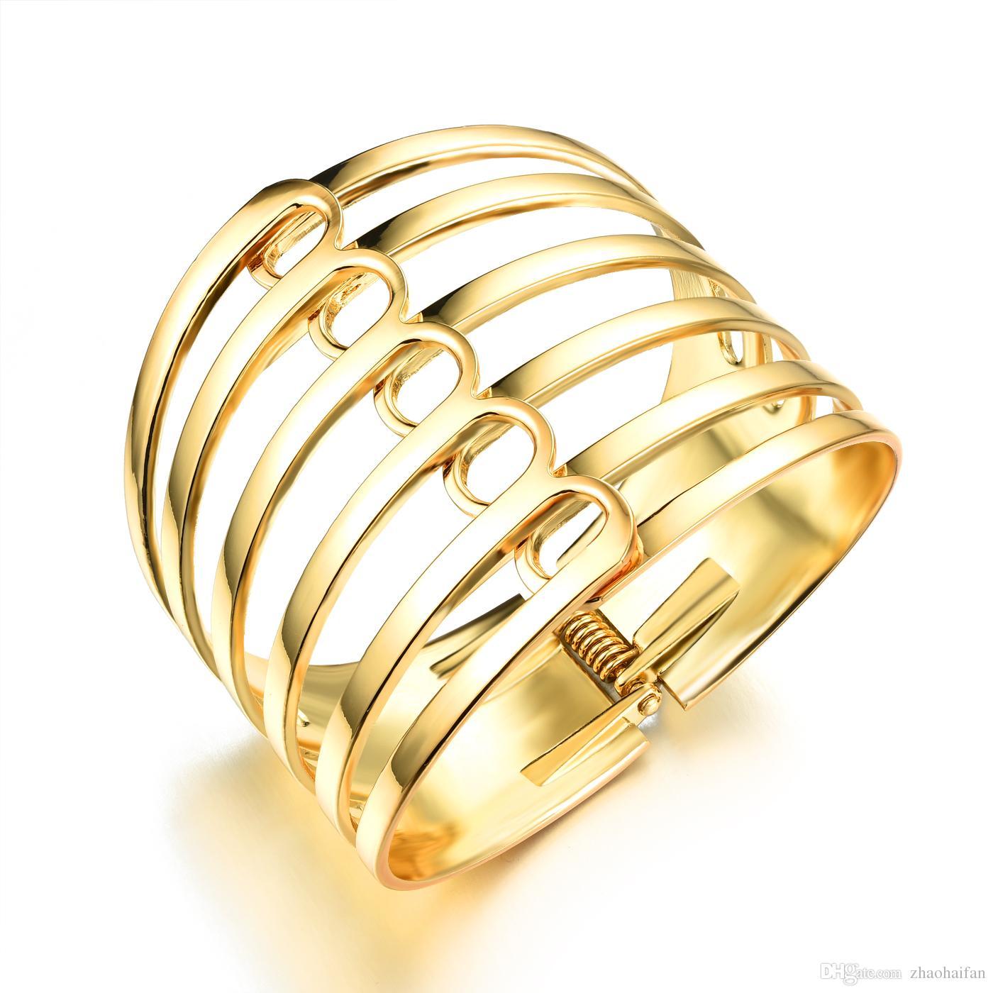 89b5f71785b5 Compre Exagerada 18 K Chapado En Oro Mujer Brazaletes Vintage EU Style Gran  Superficie 35 Mm Ancho Mujeres Personalidad Joyería KKH490 A  20.31 Del ...