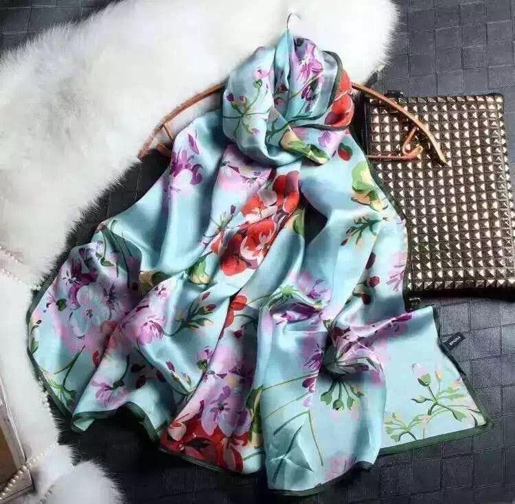 4 COULEURS !!! Echarpe longue de marque réputée, broderies en soie pour femme, 100% soie de grade supérieur, taille 70 * 180 cm.