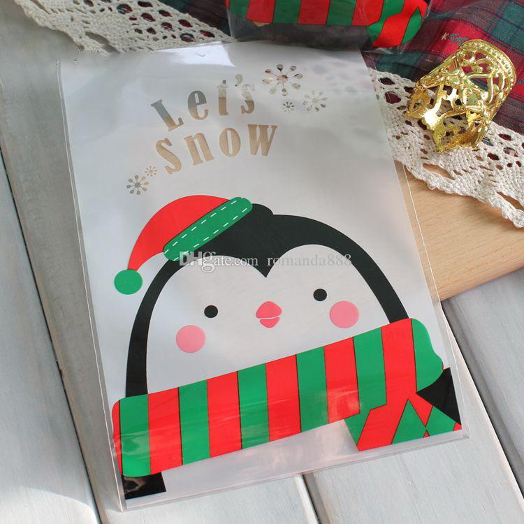 14*20cm OPP Stand Up Pouch Christmas Santa And Penguin Partten Gift Packaging Bag diy Cookie and Candy Packing DHL