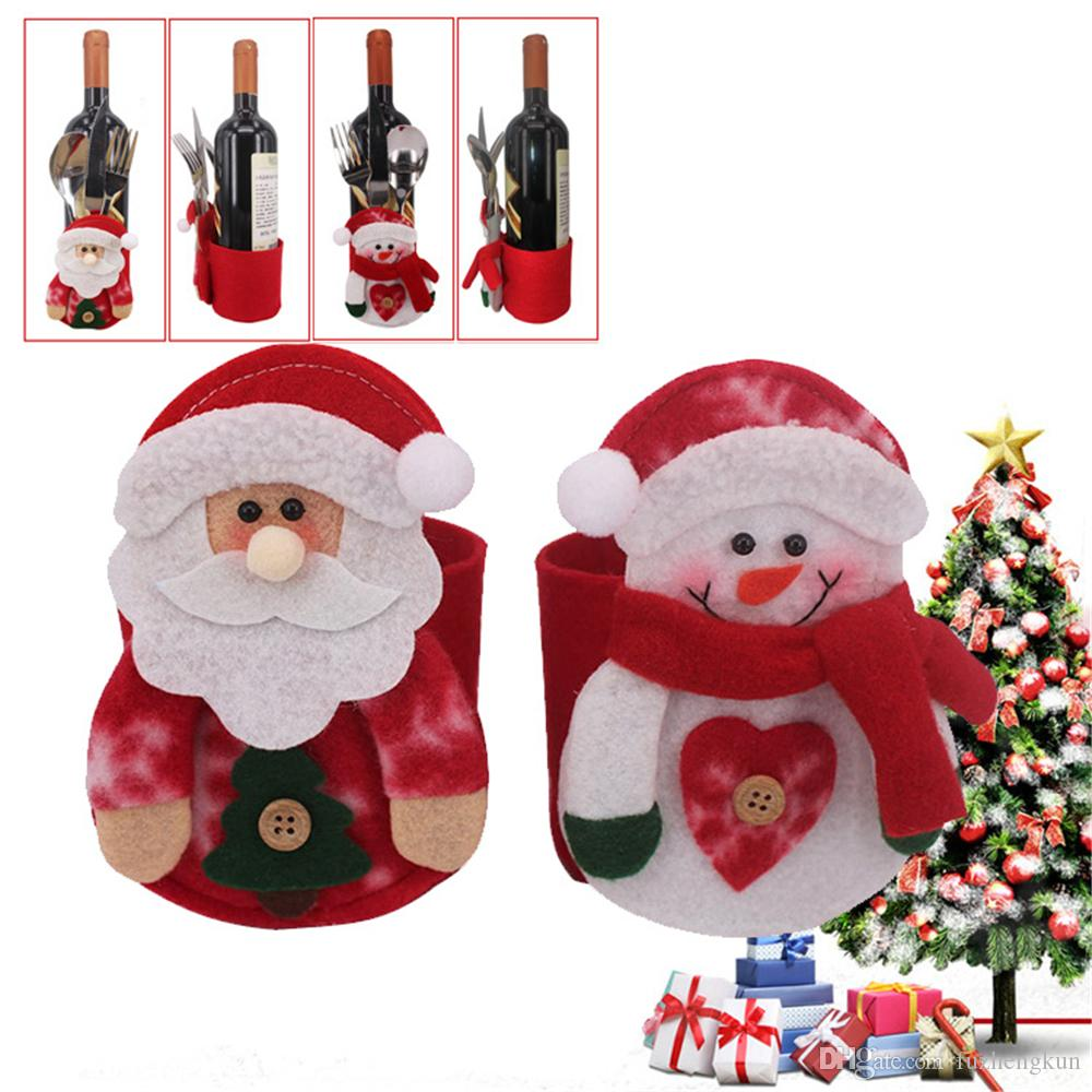 New arrival Santa Claus Snowman wine bottle and tableware bag, Unique design Christmas supplies, gift box wine bottle cover