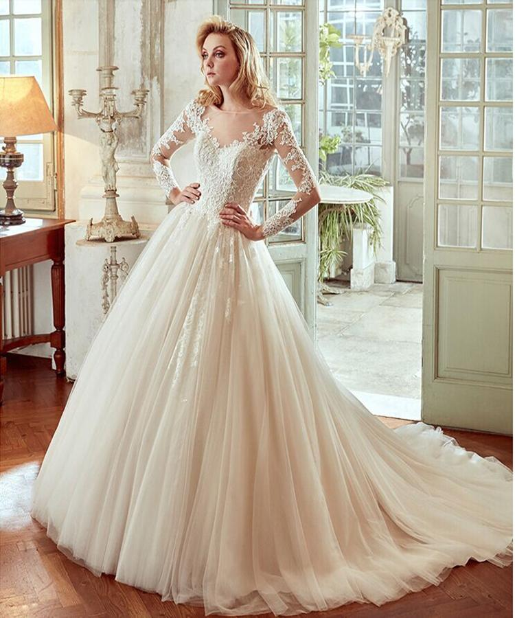 Discount Long Sleeve Lace A Line Wedding Dresses Online Cheap Sweep Train 2016 Vintage Sheer Gowns For Garden Beach Customized Gown