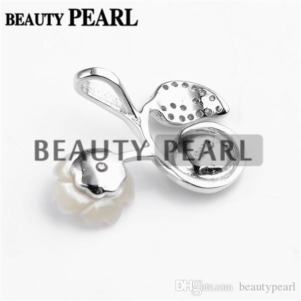5 pièces de perles pendentif Conclusions White Shell fleur feuille 925 en argent Sterling DIY Charm pendentif Mount