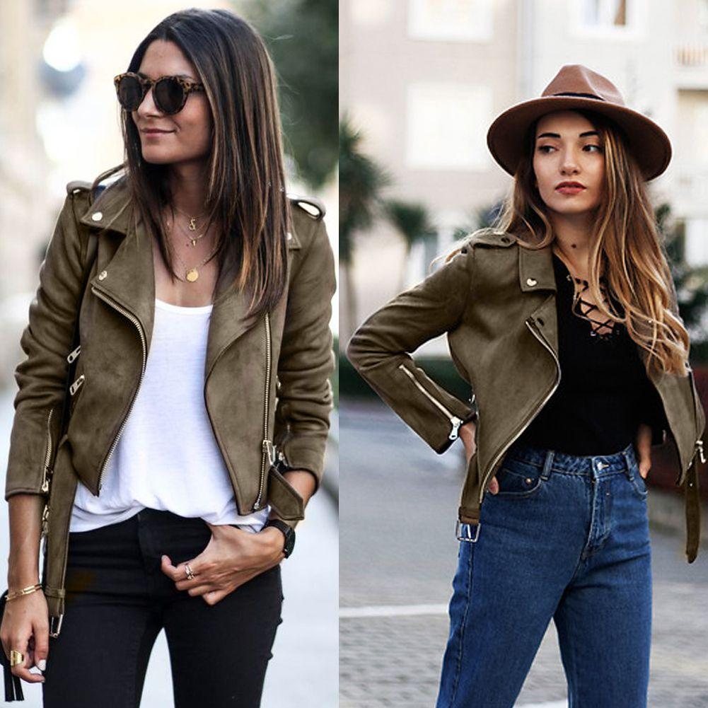 Novas Mulheres 2020 Mulheres Zipper básica Suede revestimento do revestimento ocasional de couro da motocicleta manga longa jaqueta outwear com cinto casacos de inverno curto