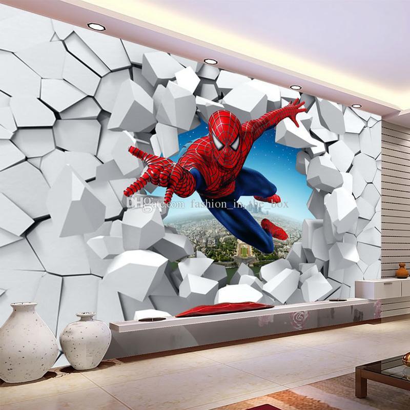Satın Al örümcek Adam Duvar Kağıdı özel 3d Fotoğraf Duvarlar Için