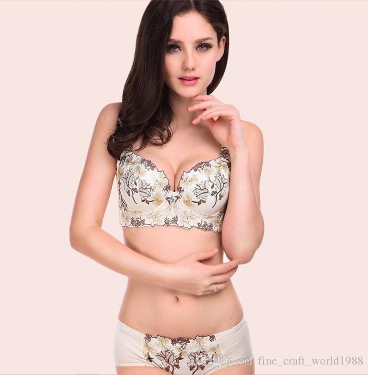 eb363dafbc 2019 Free New Wholesale Women Bra Set Underwear Women 32 40 A D Lace Push  Up Bra Set Women Embroidery Plus Size Bra And Panty Set Women Sexy Bra From  ...