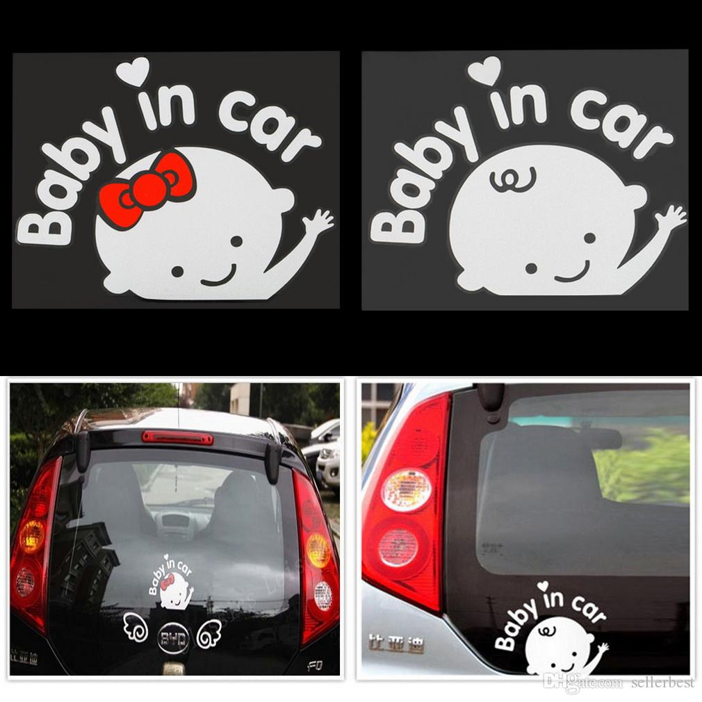 Etiquetas engomadas del coche de la historieta 3D Vinilo reflexivo que labra al bebé en el coche Calentamiento Etiqueta engomada del coche Bebé a bordo en el parabrisas trasero