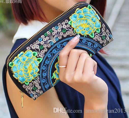 Brand New Exquisite Rough Hemp Handmade Embroidery Peacock/Flower Women Long Purse Plaid Zipper Wallet Phone Case Designer Purses For Women