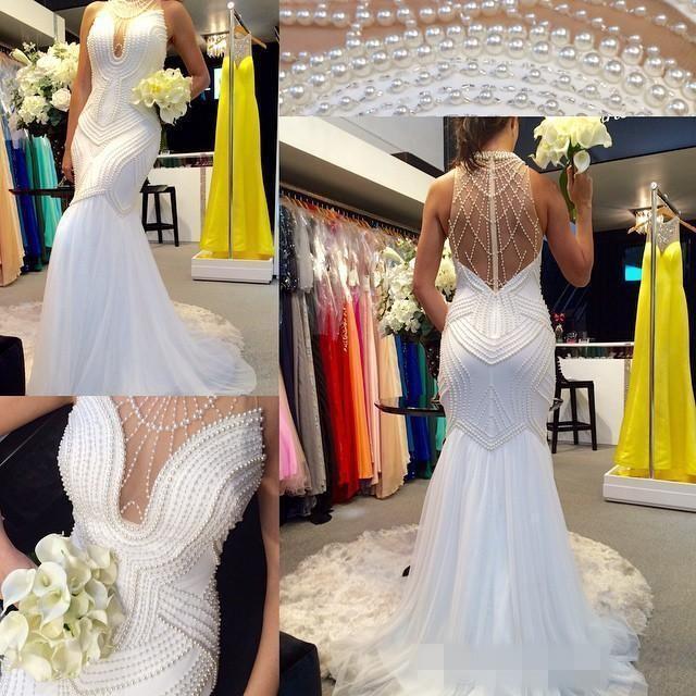 Vestidos Novia Volver sirena atractiva mano que rebordea de novia 2019 nueva llegada Perlas vestidos de boda de la sirena del cuello del halter de la ilusión Sheer