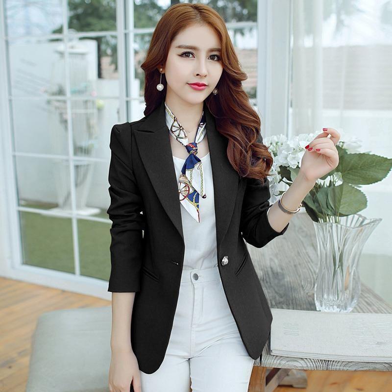 2017 Casual Women Blazer Single Button Slim Ladies Work Suit Long