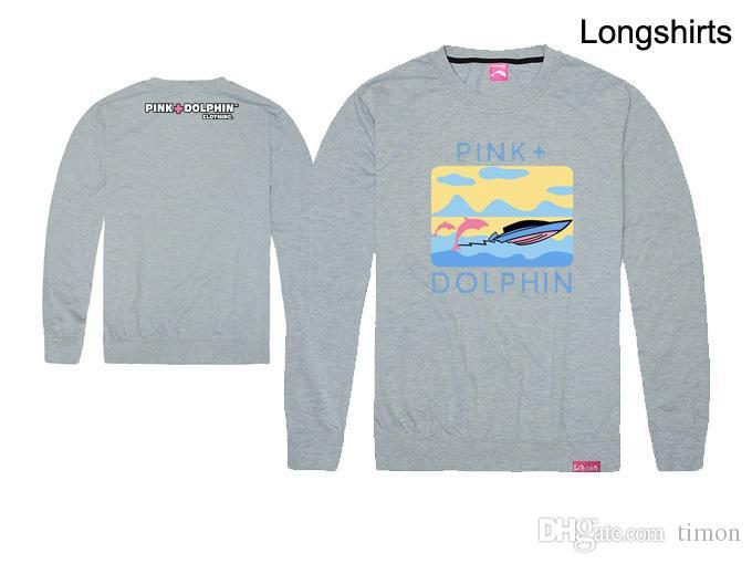 Moda rosa dos homens golfinho camisetas Hip Hop Impressão Roupas de algodão outono tops de manga longa Marca tee o-pescoço Top Frete grátis