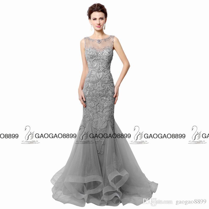 Robes de soirée sirène Champagne dos ouvert gris perler 2019 Real Photo brillant pure cou femmes Robe de bal longue robe de soirée LX006