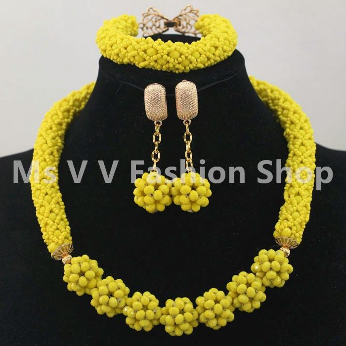 New blue yellow red orange color Crystal Bead Necklace Dangle Earrings Set Accessory Choker Jewelry Set African Style