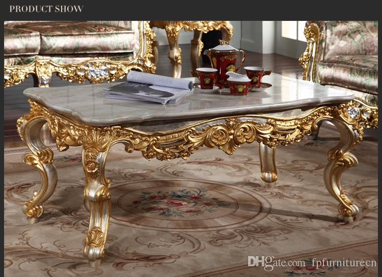 Antique baroque living room furniture-French classic coffee table with leaf gilding - Italian coffee table