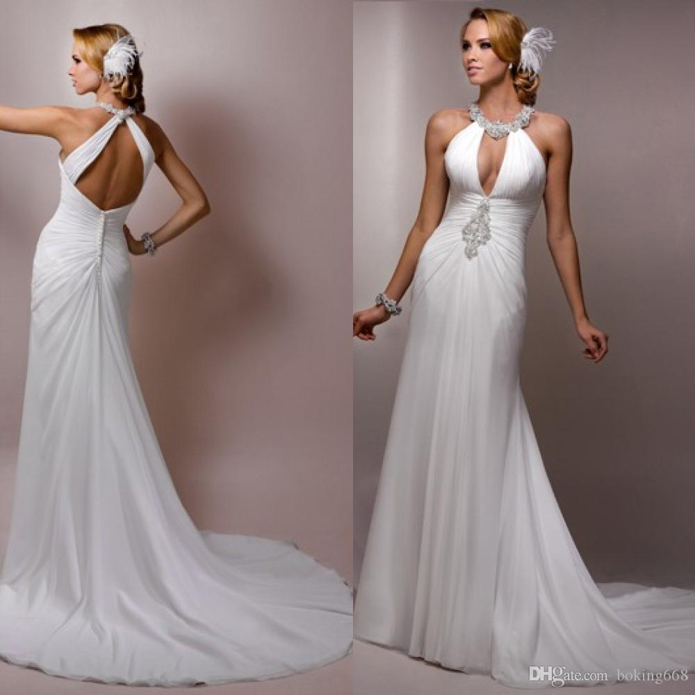 Flowing Wedding Gown: 2016 Chiffon Flowing Beach Halter Neck Sexy Backless