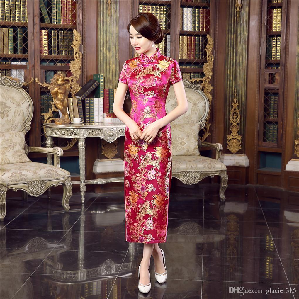 상하이 스토리 고급 긴 치파오 레이온 중국 치파오는 중국 전통 의류 동양 드레스 저렴한 Qipao 드레스 qipao