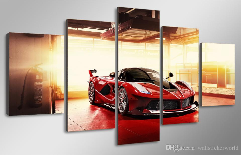 Framed Printed Red luxury sports car Painting Canvas Print room decor print poster picture canvas /ny-4936