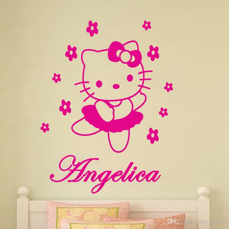 Custom Name Hello Kitty Vinyl Wall Art Wall Stickers For Girls Rooms Decor  Wall Stickers Size 45*60CM Adesivo De Parede F1 0024 Cool Wall Decals Cool  Wall ...