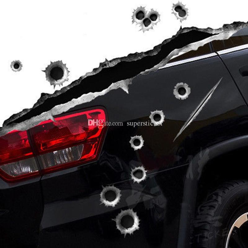 Super Deal Car Styling 3D Fake Bullet Hole Gun Shots Funny Car Helmet Stickers Decals Emblem Symbol Creative personalized Stickers Bombing