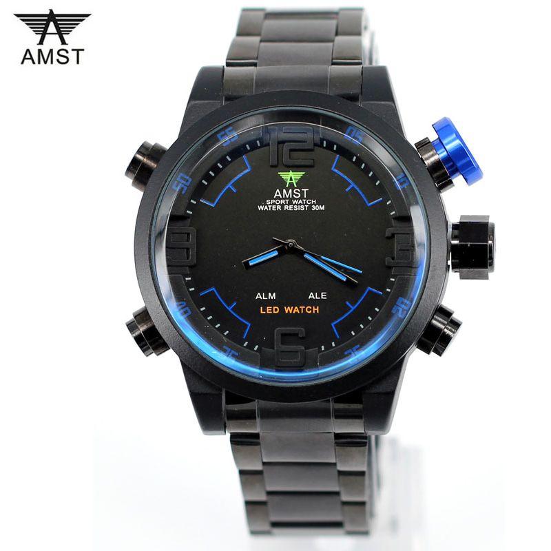 c9814223478 Compre Marca Amms Mens Relógios Militares Homens Luxo De Aço Inoxidável De Quartzo  Relógio Display Led Esportes Relógios De Pulso Relogio Masculino De ...