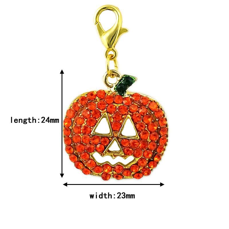 Halloween Fashion Floating Homar Zapięcie Charms Dangle Orange Rhinestone Dynia Maska Charms DIY Biżuteria Robić Akcesoria