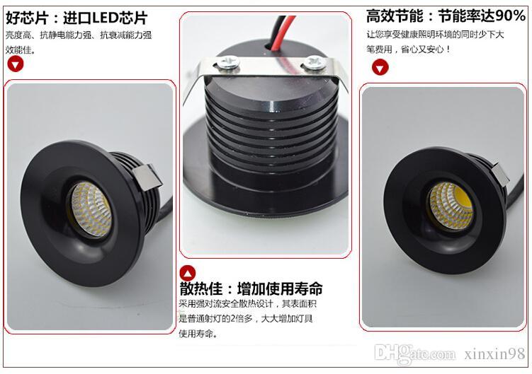 Prix de gros Hot vente Dimmable 3W COB LED plafonnier encastré haut super blanc chaud / blanc / blanc froid dirigé vers le bas la lumière AC 85V-260V