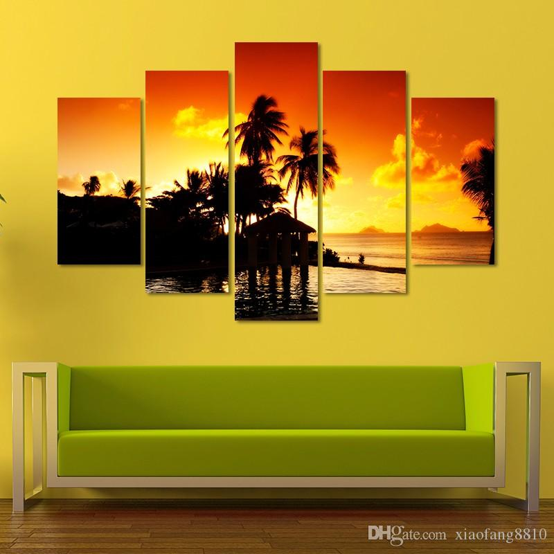 gold sunset decoration seascape coconut tree wall art picture landscape mountains Canvas Painting living room unframed