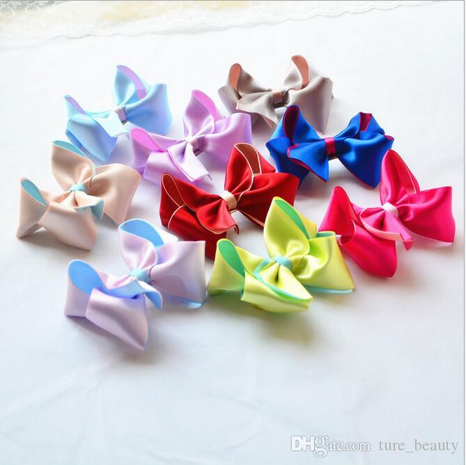 15% off! New sale 3.5 inch Double stereo Bowknot Hairpins Baby bow Hair Clip Kids Hair Accessories ribbon Bow Hair Clip