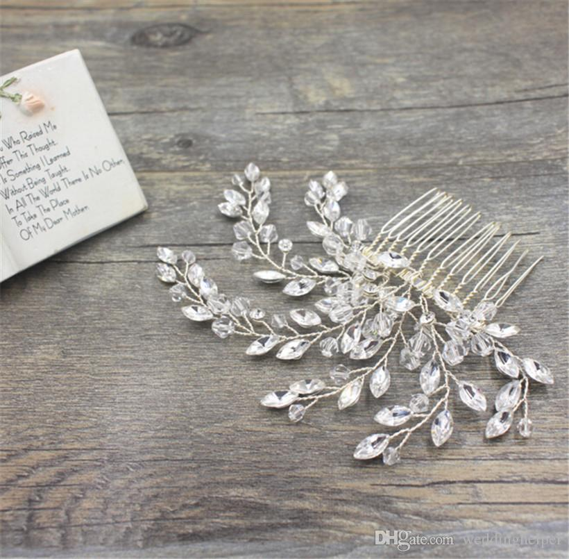 Vintage Wedding Bridal Hair Accessories Crystal Comb Headpieces Rhinestone Gold Silver Tiara Women Fashion Prom Hair Jewelry Pins Clips