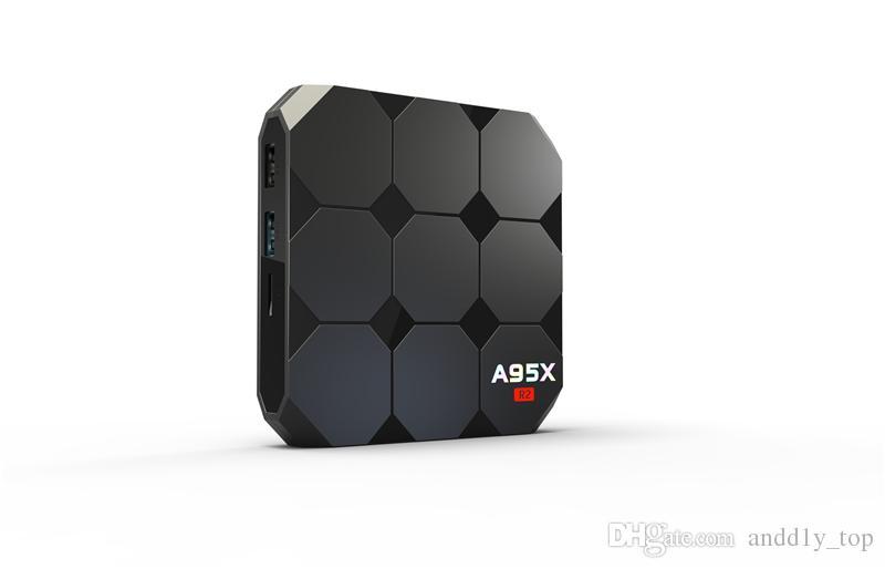 Yeni Amlogic S905W A95X R2 Android 7.1 TV KUTUSU 2 GB 16 GB Quad Core LCD Ekran HD 4 K 3D WiFi Media Player Kutuları Daha Iyi S905X X96 mini