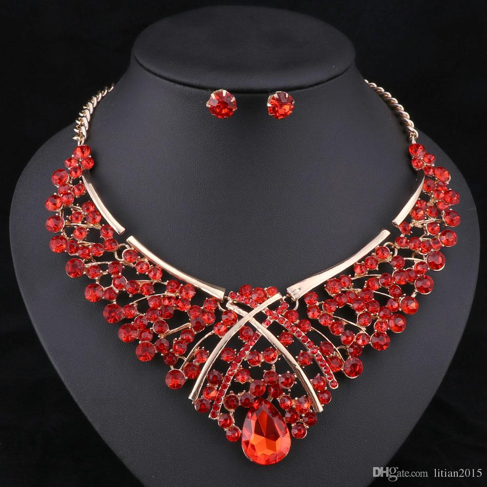 Africa Beads Jewelry Set Fashion Nigerian Wedding Jewelry Sets For Brides Gold Plated Necklace Earrings Sets
