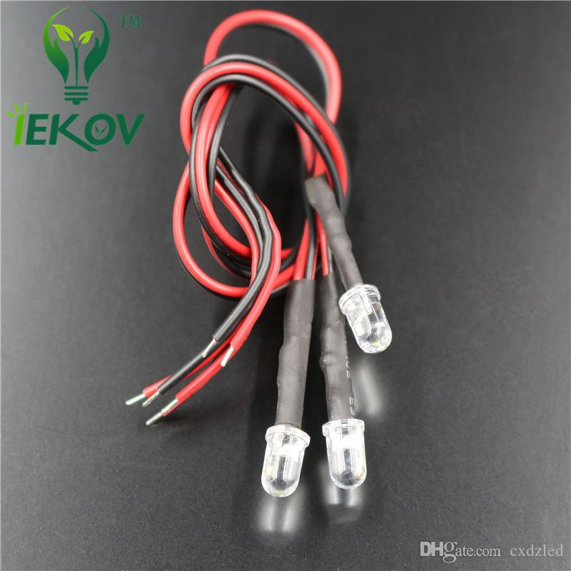 5MM 12V DC 20cm Pre-Wired Resistor Fast change RGB Flash Red Green Blue Rainbow MultiColor Round Strobe Emitting Diode DIY Wholesale