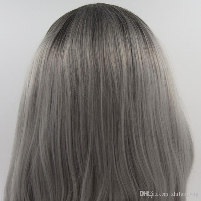 Z&F Lace Front Wigs 24 inch Ombre Grey &Black Long Wave Lace Wig Natural Wave Wholesale Fluffy Curly