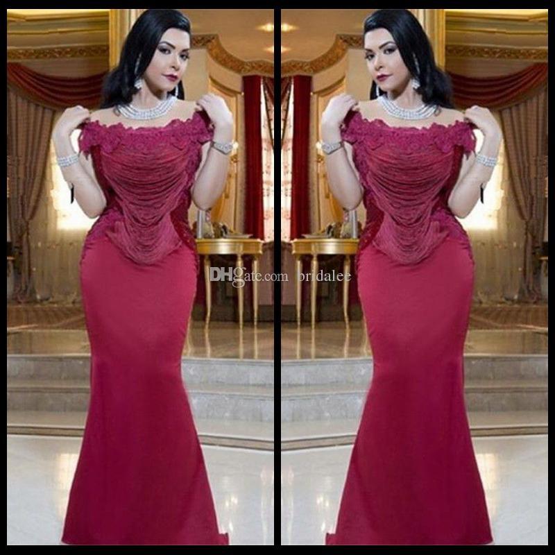 Arabischen Design Weg Von der Schulter Dubai Abendkleider Dark Red Mermaid Appliqued Quasten Formale Abendkleider 2017 Neu