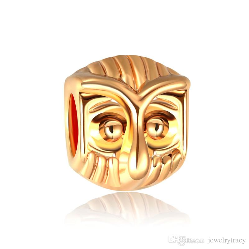 Gold color beads creative diy bracelet beads accessories 14K gold colors owl charm beads for Pandora chain
