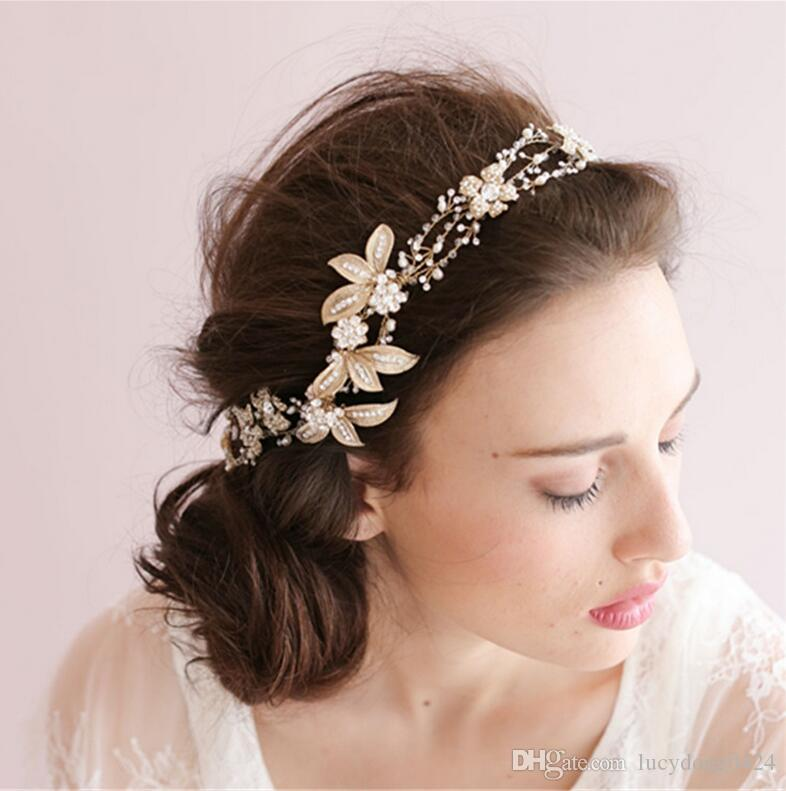 So Beautiful Gold Headwear For Wedding Embroidery Lace Flower Bridal Accessories Fascinator Hat Head Piece Charming Tiaras Cheap Hair Comes The