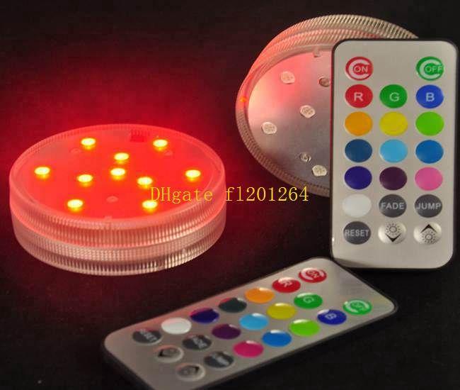 RGB Multicolors Mini Remote Control Submersible LED Light,Waterproof LED Vase Base Light For Wedding Party Celebration