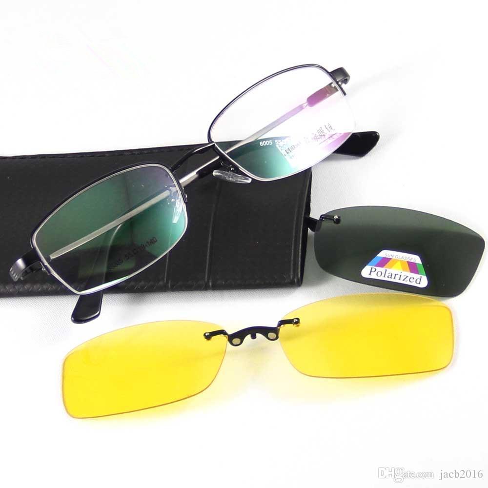 6273dfe5f0 Polarized Sunglasses Magnetic CLIP ON Eyeglasses Sun Glasses Eyewear Shades  Metal Monel Frame Flexible Memory Temple Brand 6005 Round Eyeglasses Frames  For ...