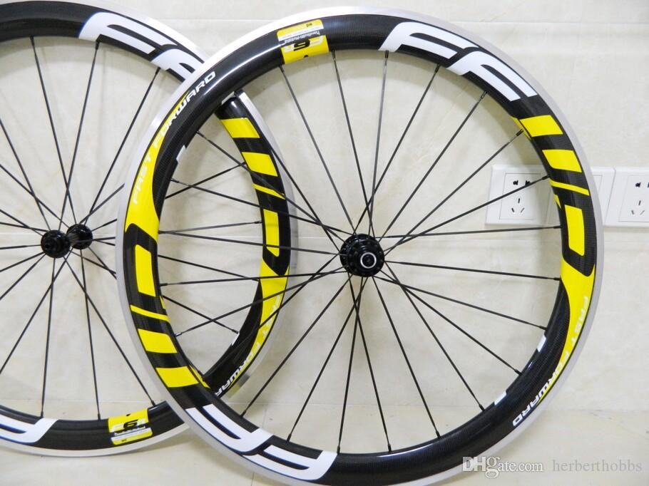 Yellow Ffwd Aluminum Carbon Road Bike Wheels 50mm Rim Carbon 3D Bicycle Wheelset With Novatec Hubs