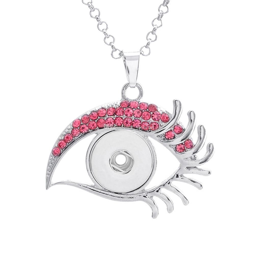 Alloy Snap Button Fatima Eye with Rhinestone Charm Pendant For DIY Jewelry Findings Fit 18MM Noosa Chunks