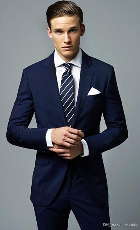 c9bac021a60c2 Compre Apuesto Azul Marino 2 Piezas Para Hombre Trajes Chaqueta +  Pantalones Novio Esmoquin Slim Fit Mejor Traje Del Hombre Padrino De Boda Para  Hombre ...