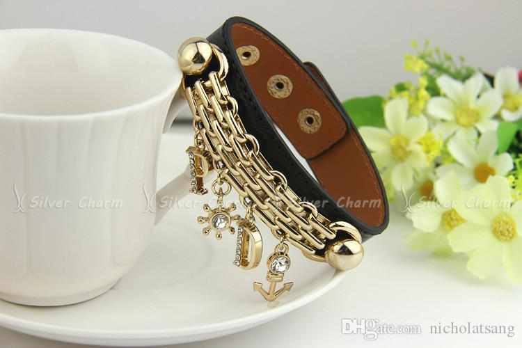 Factory Wholesale 18K Gold Plated Black Leather Bohemia Style Anchor Charm Bracelet With Letters Pendants Crystal Fashion Jewelry for Women