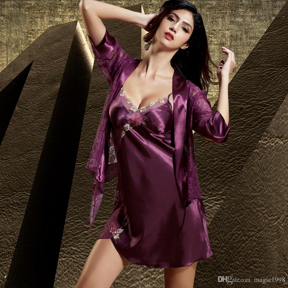 5d5879b705 2019 Hot Women Robe Sets Sexy Lace Embroidery Bathrobe Half Sleeve Twinset  Nightdress V Neck Emulation Silk Sleepwear 6629 From Magic1998