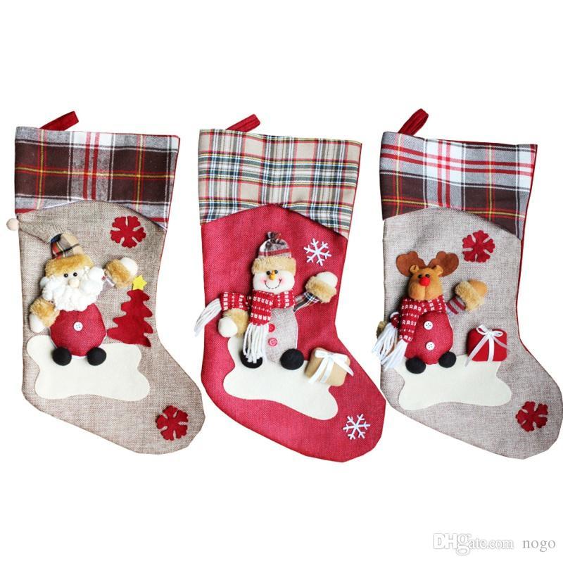 Natale calzini appesi Bella borsa regalo Modelli di bambola Cartone animato Babbo Natale Pupazzo di neve Grande Stocking Party Capodanno 2017