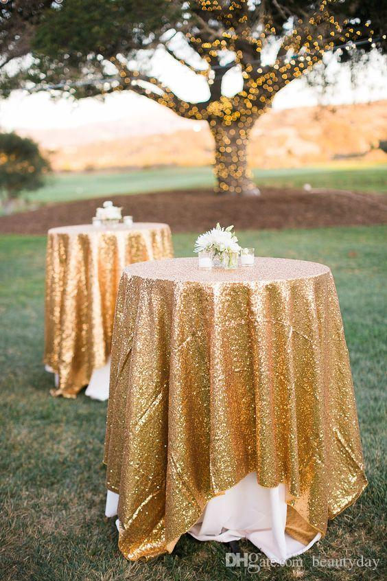 Great Gatsby wedding table cloth Gold Decorations round and rectangle Add Sparkle with Sequins cake table idea Masquerade Birthday Party