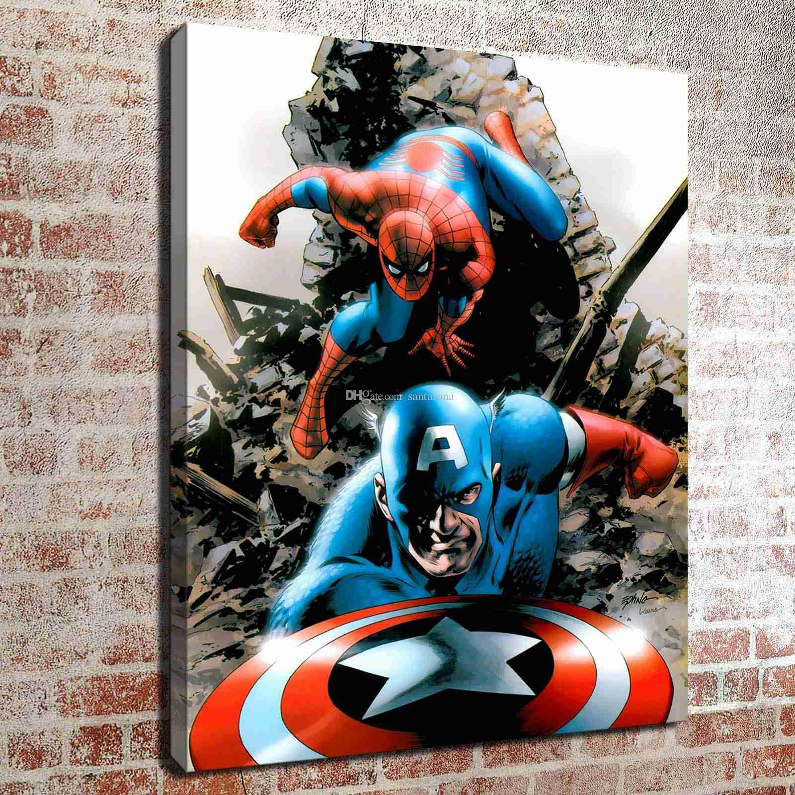 2018 no frame spiderman and captain america hd canvas print wall art