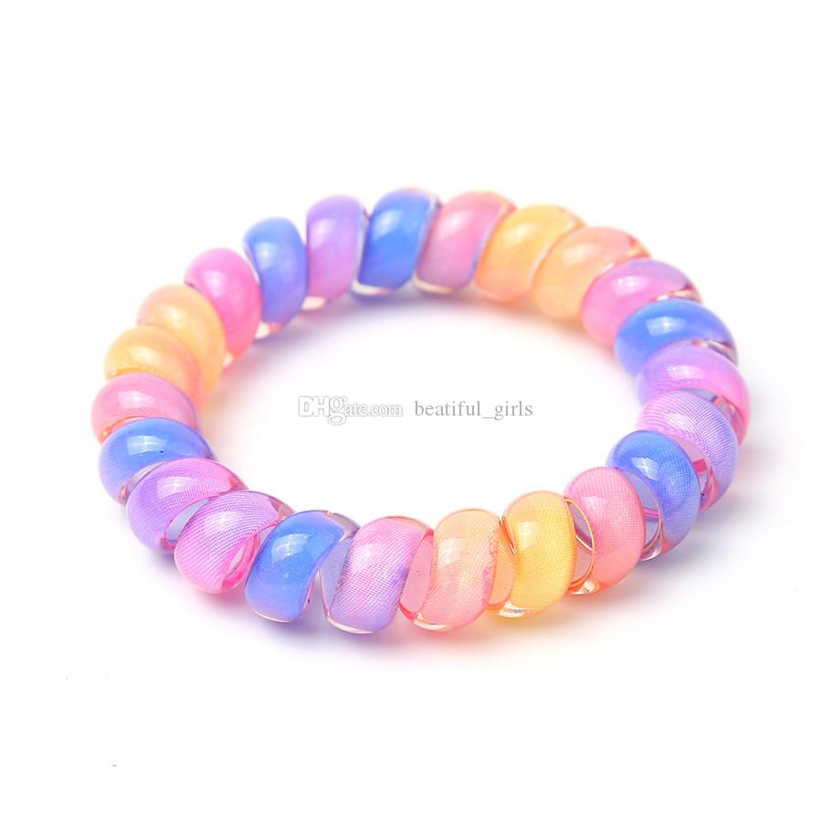 5cm Women Hairband Girl Colorful Elastic Rubber Hairband Rope Ponytail Holder Telephone Wire Rope Hair Tie Band Accessories