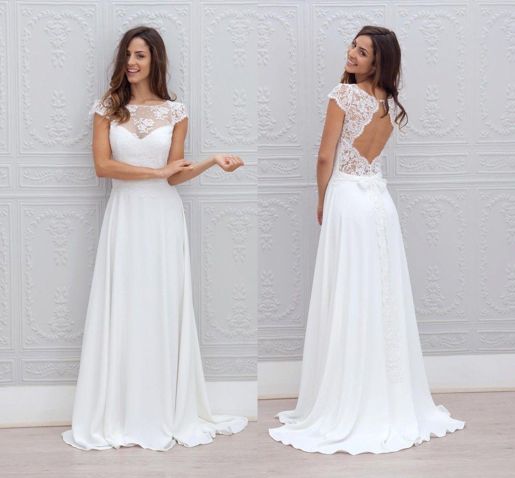 Discount New Fairy Bohemian Beach Wedding Dress 2018 Sheer Neck Lace ...