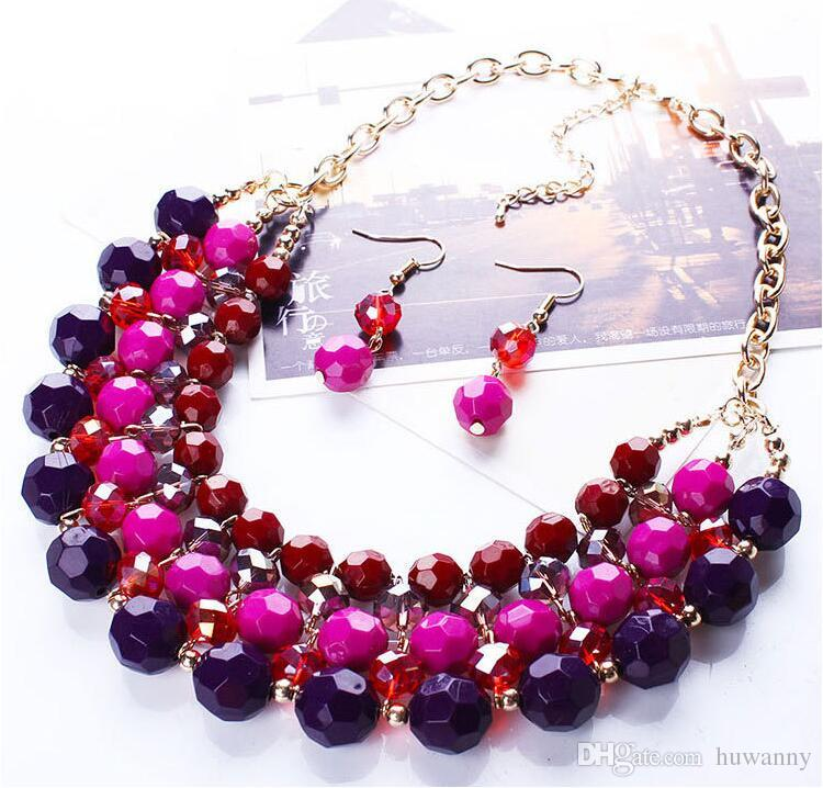 Bohemian Jewelry Sets New Hot Sale Earrings and Necklaces Set for Women Girl Party Gift Fashion Jewelry Wholesale 0413WH