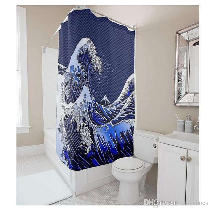Customs 36/48/60/66/72/80 W x 72 H Inch Shower Curtain Sea Wave Series Waterproof Polyester Fabric DIY Shower Curtain